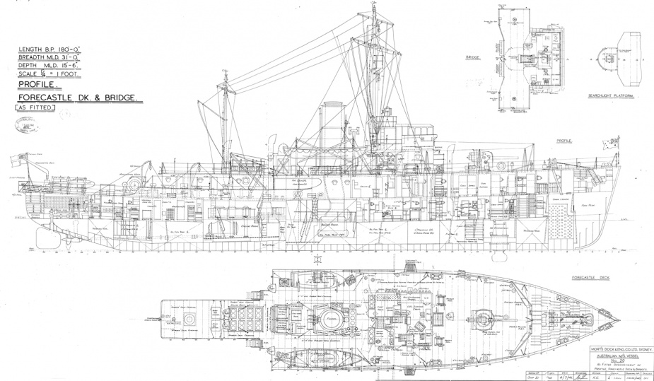 The 'as built' general arrangement plan for the Bathurst class corvettes.