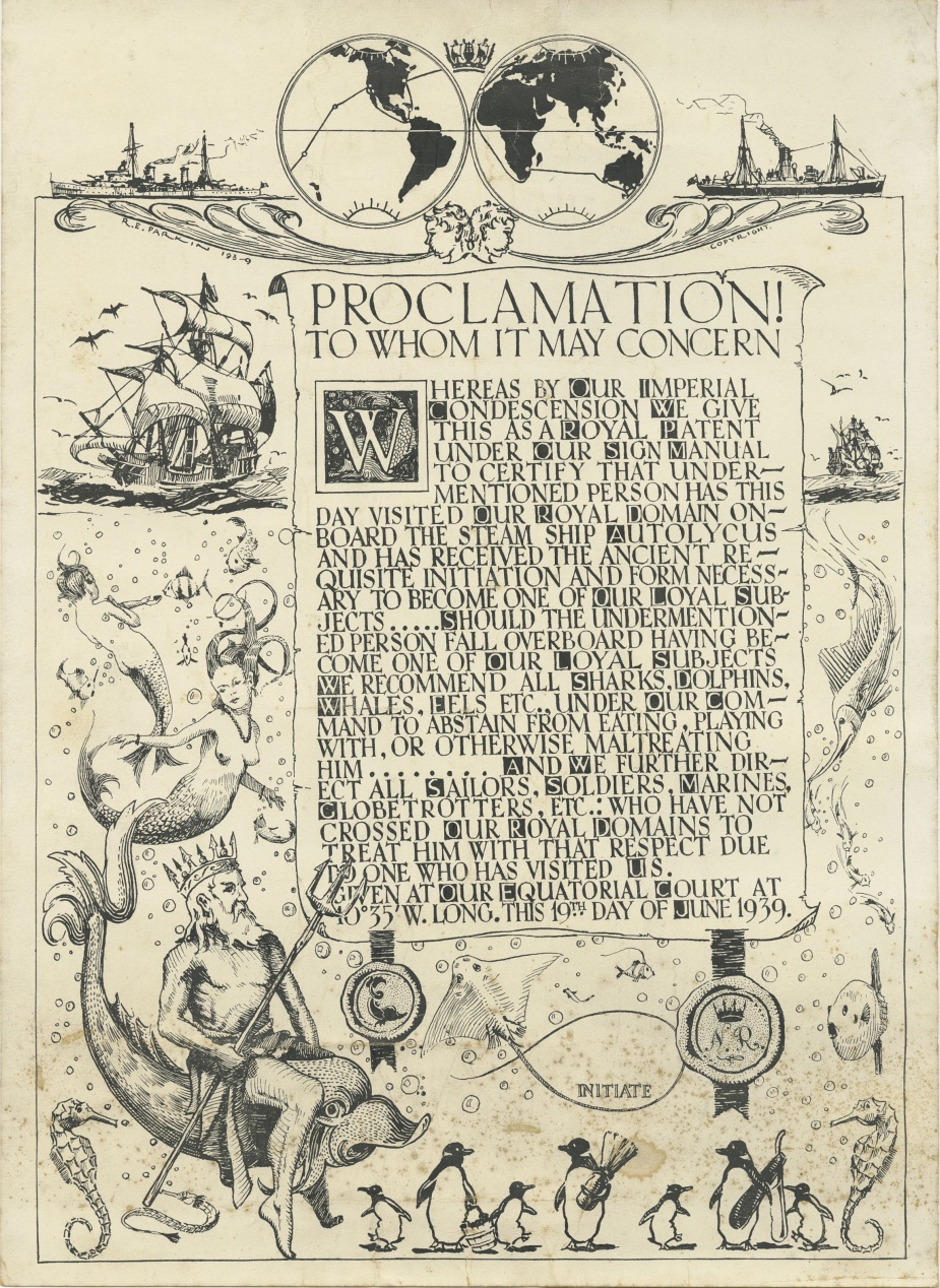 In 1939, Royal Australian Navy personnel proceeded to England on board the Blue Funnel Steamer SS Autocylus for the acquisition of the cruiser HMAS Perth. This certificate was produced to commemorate their crossing the line en route. The signature of the designer, Ray Parkin, can be seen in the top left hand corner. (Hatfield Collection)