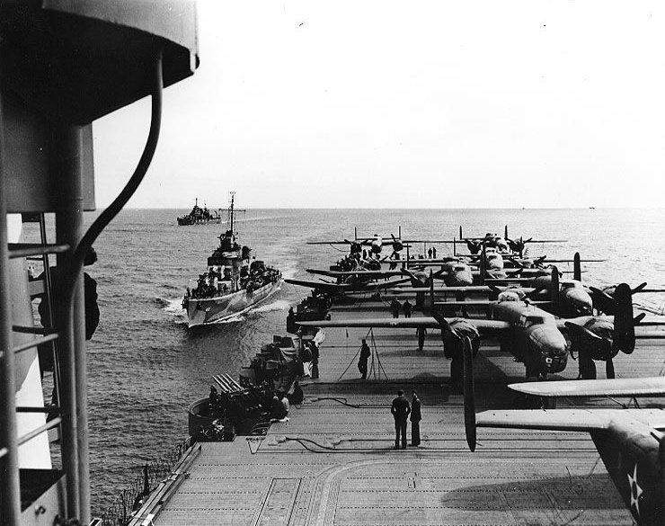 USAAF B-25B bombers on board USS Hornet for the Doolittle Raid, April 1942.