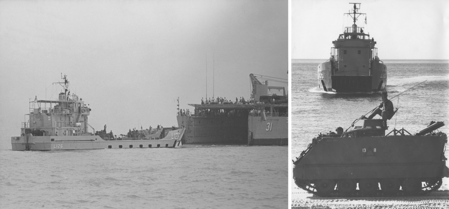 Left: Balikpapan moves away from the stern door of USS Point Defiance during Exercise Kangaroo. Right: An APC waiting for Balikpapan to run up the beach at Amity Point, January 1981.