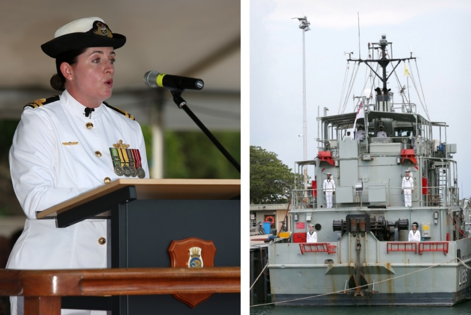 Left: Commanding Officer of HMAS Balikpapan, Lieutenant Justine Archer, RAN addresses dignitaries, crew, family and friends at the decommissioning ceremony. Right: Crew members onboard HMAS Balikpapan for the last time during her decommissioning ceremony.