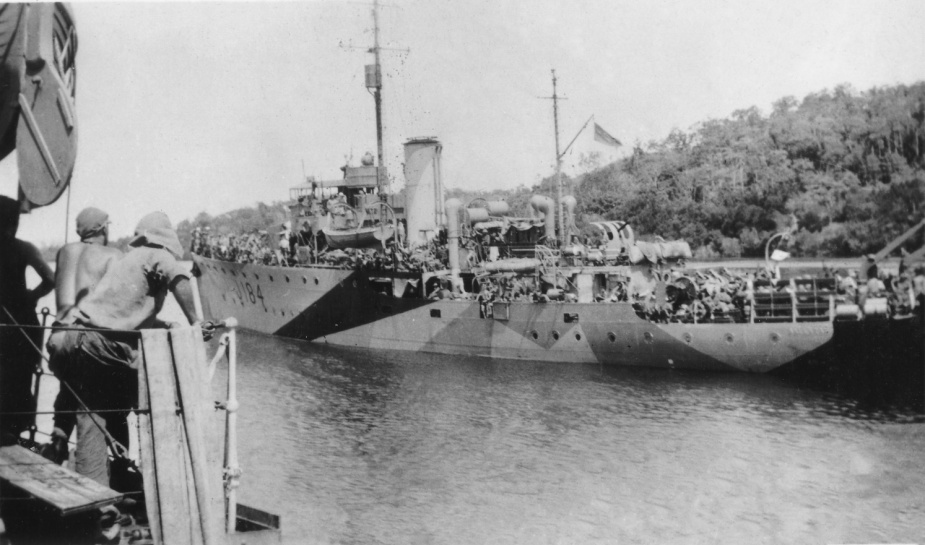 Ballarat wearing her disruptive pattern wartime camouflage paint scheme.
