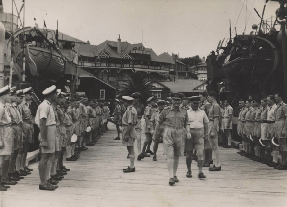 Admiral Sir Bruce Fraser, GCB, KBE, RN inspects men of the 2nd Minesweeping Flotilla in Watson's Bay, Sydney, November 1944.