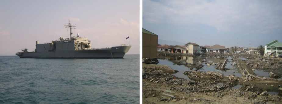 Left: Kanimbla were one of her Sea King helicopters ranged on deck off the coast of Banda Aceh. Right: The devastation ashore. (Images courtesy of CMDR Bruce Greig, RANR)