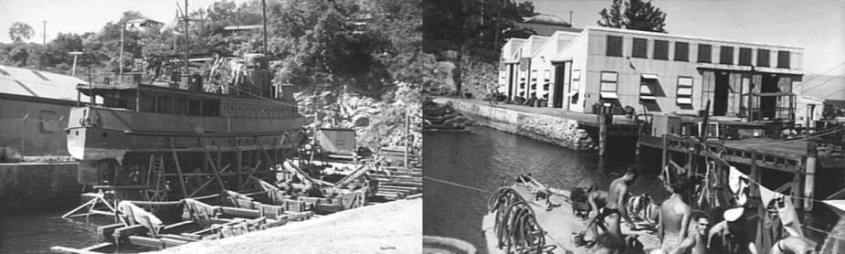Left: HMAS Watcher in the Basilisk Slipway. Right: The naval repair workshop at Basilisk.