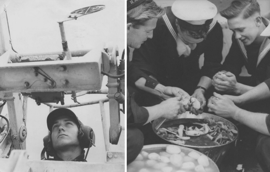 Left: Able Seaman 'Happy' Anderson manning one of Bataan's 40-mm Bofors. Right: Sustaining Bataan's ship's company during operations off Korea was of vital importance to the health and well-being of the crew. Here 'spud barbers' are hard at work preparing the evening meal.