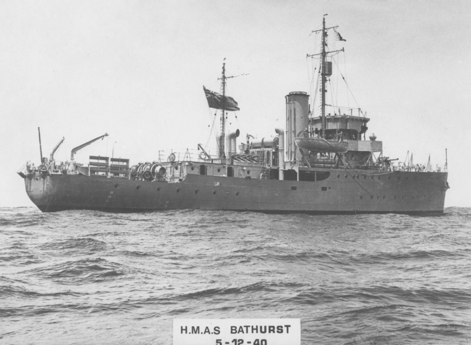 HMAS Bathurst (I) undergoing sea trials prior to commisioning. Note the Red Ensign flying from her mainmast indicating that she is still in the hands of the builders and yet to be handed over to the RAN.