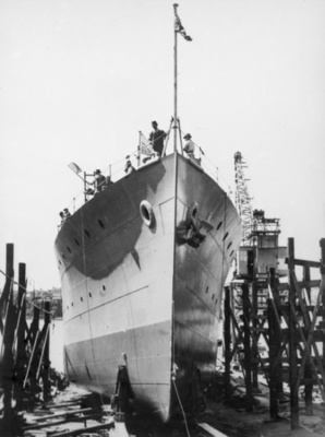 Bendigo on the slipway prior to being launched.