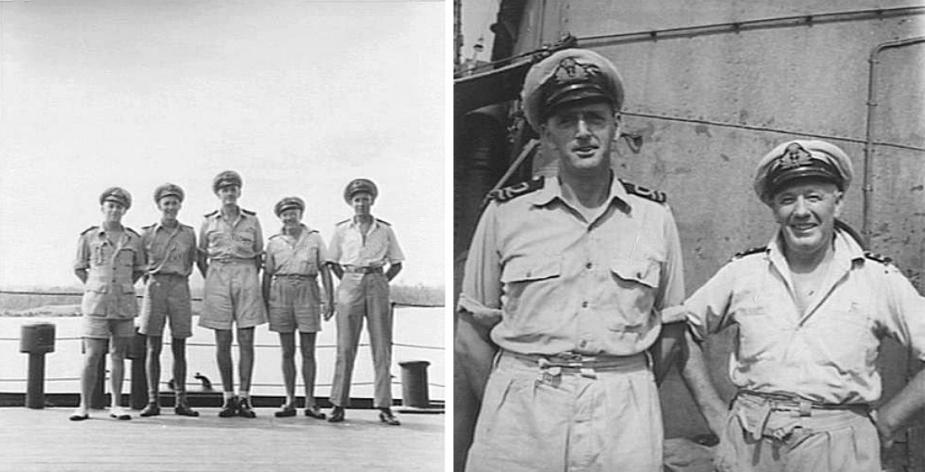Informal portraits taken of officers aboard Bendigo (L: AWM 078115, R: AWM 078117).