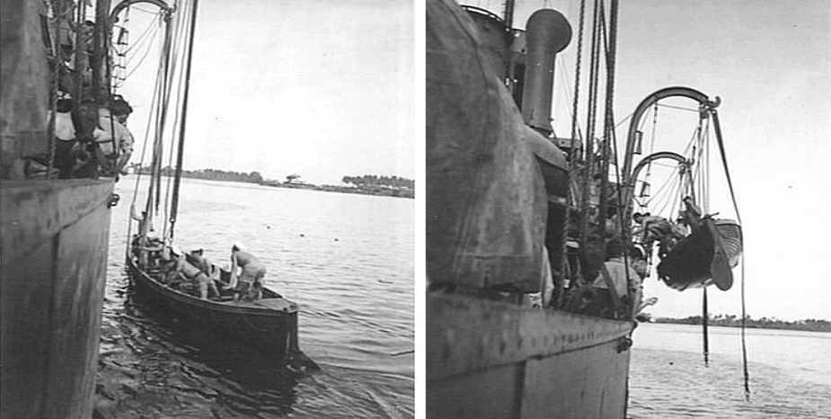 Members of the crew of Bendigo recover a whaleboat aboard while the vessel is anchored in the harbour of Madang, New Guinea, circa November 1944. (L: AWM 078118, R:  AWM 078119)