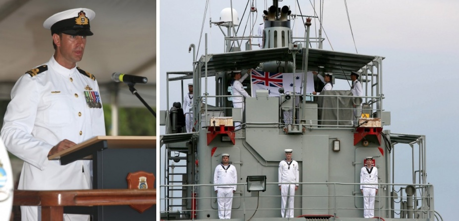 Left: Commanding Officer of HMAS Betano, Lieutenant Christopher Cockerill, RAN addresses dignitaries, crew, family and friends at the decommissioning ceremony. Right: The crew of HMAS Betano fold the Australian White Ensign after it is lowered for the last time as they decommission the vessel.