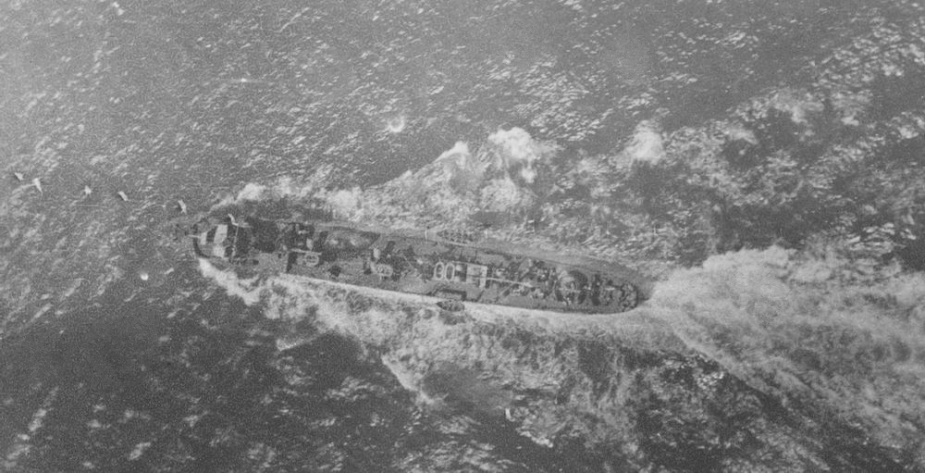 A photograph taken from the observation balloon being towed by HMAS Parramatta, in the Adriatic Sea on 5 August 1918.
