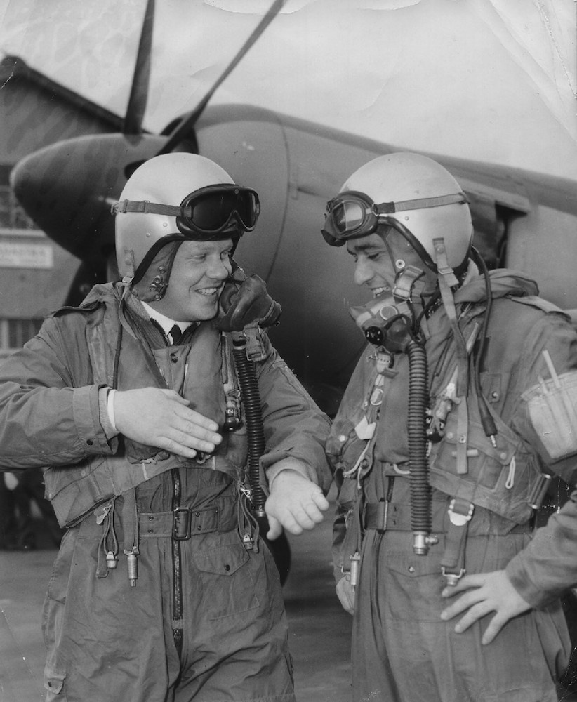 Lieutenants John Bluett, RN, and Peter McNay, RN, reliving their successful action against a pilotless Auster in 1955.