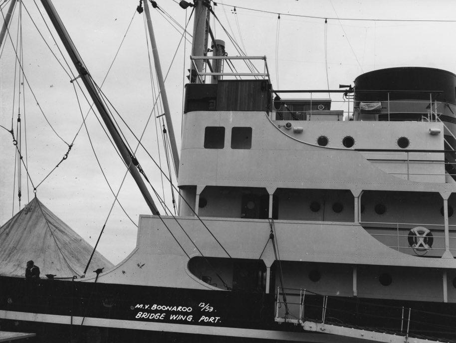 HMAS Boonaroo's forward superstructure and cargo derrick.