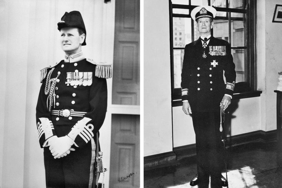 Left: Captain Bracegirdle in full dress uniform, circa 1924. Right: Rear Admiral Bracegirdle at the end of his naval career, circa 1945.