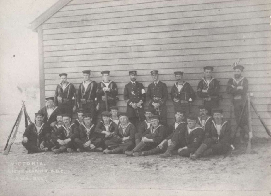 Members of the Victorian Naval Brigade, the forebears of the RANR, at Williamstown Naval Depot in 1897.