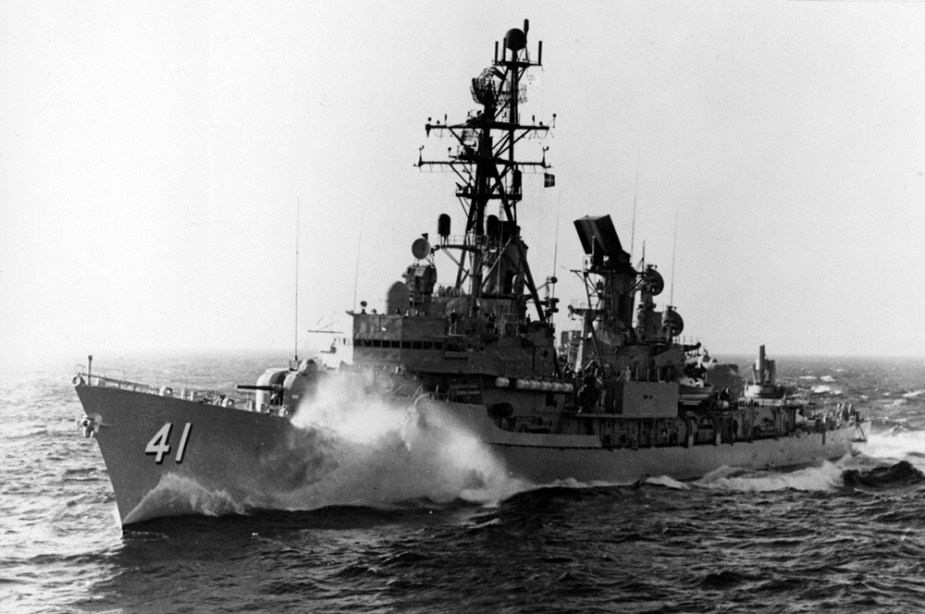 HMAS Brisbane at sea.