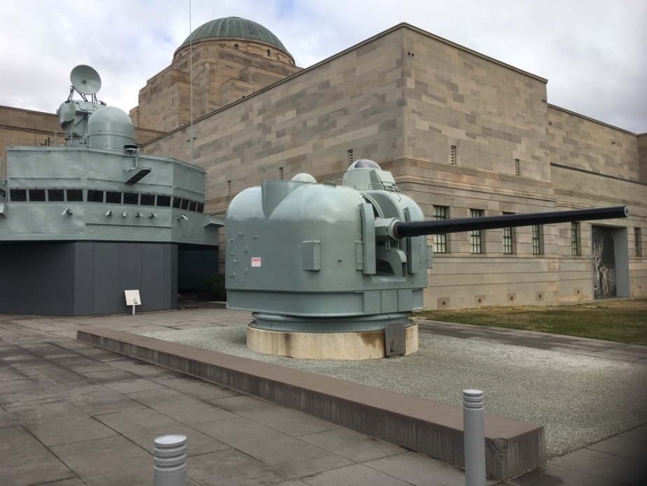 HMAS Brisbane (II)'s bridge and gun mount is on display at the Australian War Memorial.