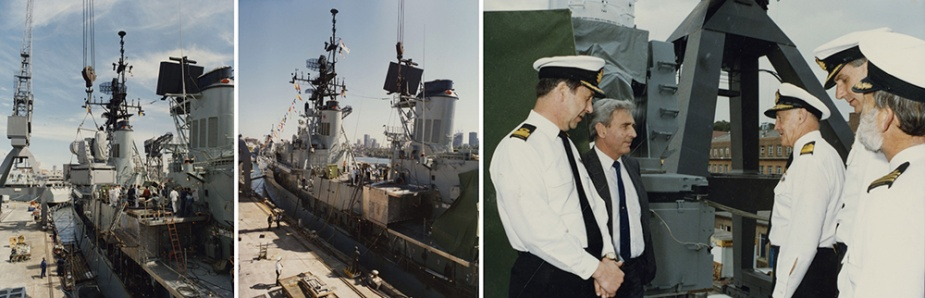 Left: Installation of port side mount onto magazine deck of HMAS Brisbane, 8 October 1990. Middle: Installation of port side magazine, 4 October 1990. Right: Inspection of construction by Chief of Naval Staff, VADM MW Hudson, AC, RAN.