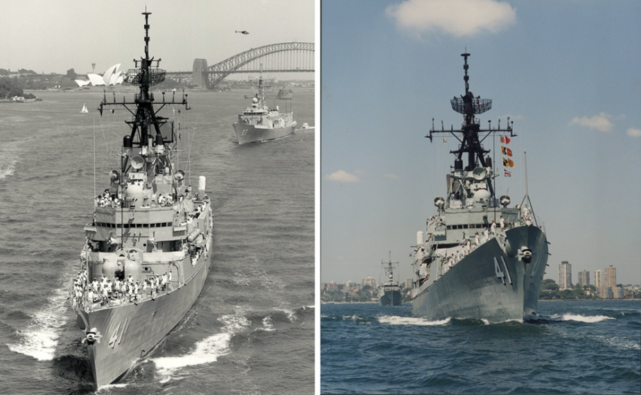 HMA Ships Brisbane and Sydney leaving Sydney Harbour en route to the Middle Eastern Area of Operation.