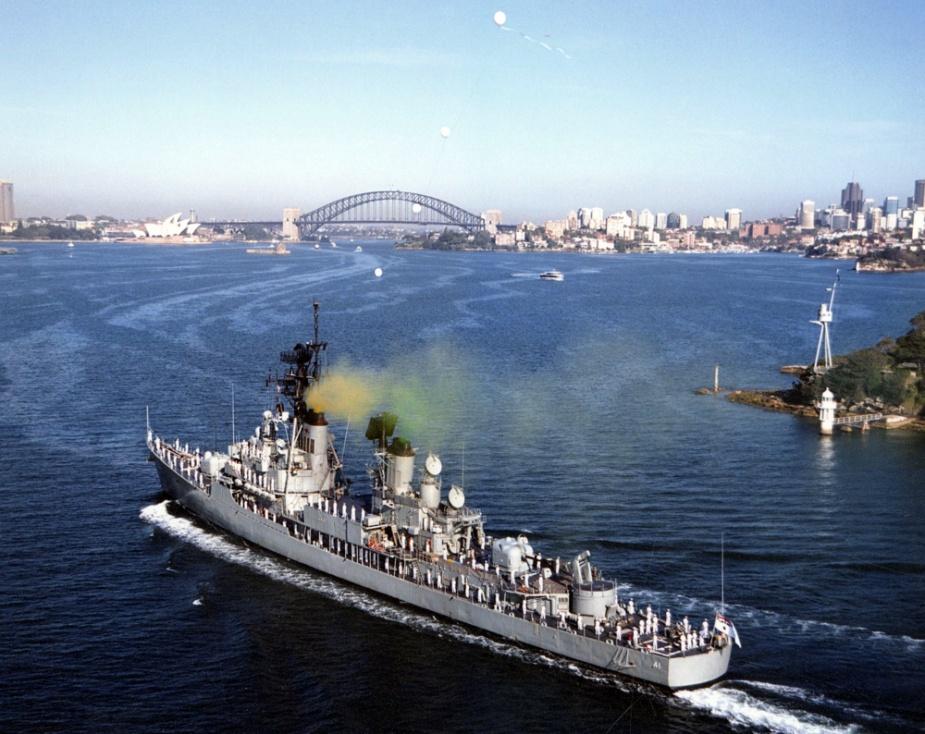 HMAS Brisbane flying her decommissioning pennant.