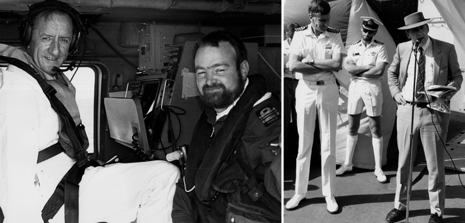 Left: The leader of the National Party, Mr Tim Fischer, being strapped into HMAS Sydney's Seahawk helicopter by the observer, LCDR 'Irish' McNeil, for transfer to HMAS Brisbane. Right: The leader of the National Party, Mr Tim Fischer, addresses the ship's company of HMAS Brisbane on Christmas Day 1990, accompanied by the Commanding Officer, Captain CA Ritchie, RAN.