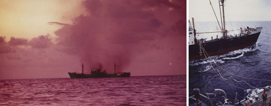 The crippled MV Sincere as seen from HMAS Brisbane when she went to her assistance on 30 June 1969.
