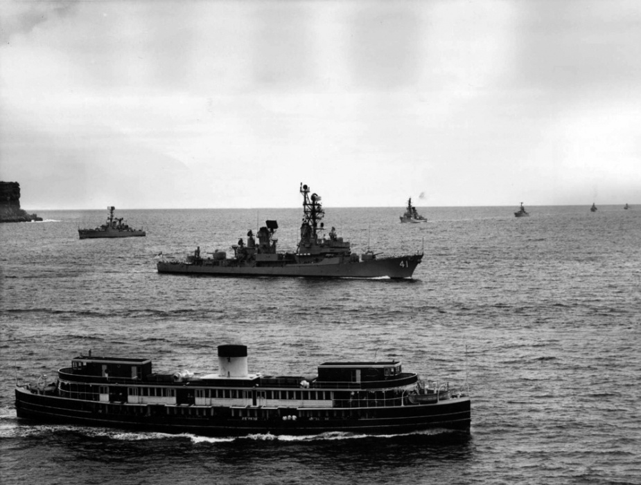 HMAS Brisbane leads RAN fleet units into Sydney prior to her deployment to Vietnam in 1971.