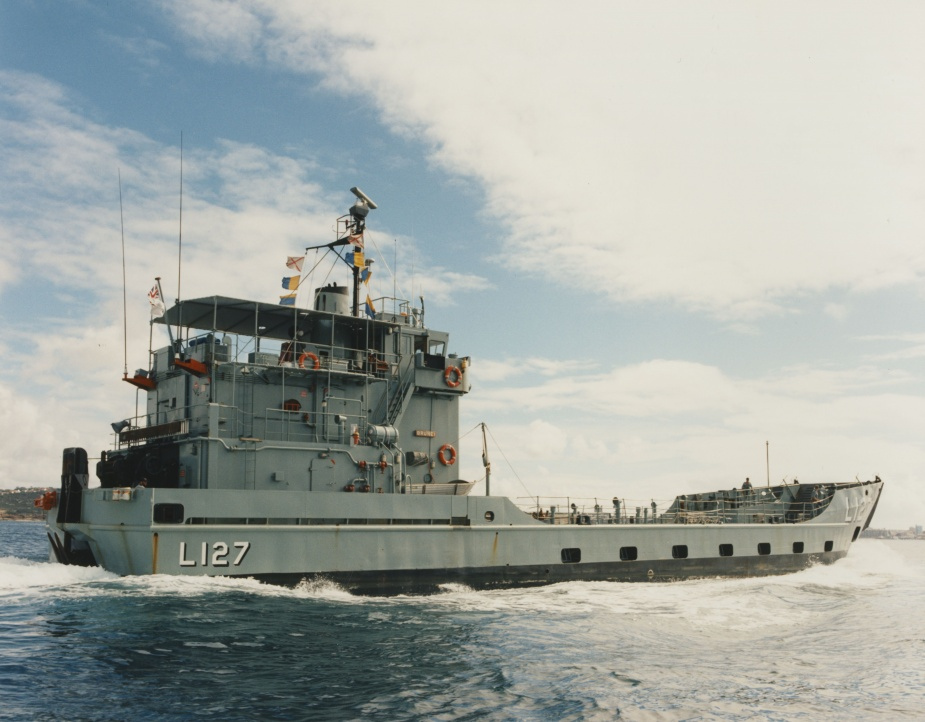HMAS Brunei departing Sydney to assist in HMAS Betano's workup exercises, 25 March 1996