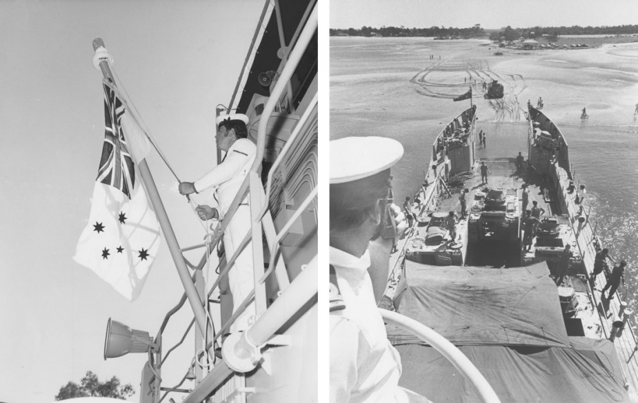 Left: Raising the Australian White Ensign on HMAS Brunei. Right: HMAS Brunei's Commanding Officer, Lieutenant Terry Feltham supervising the loading of APCs at Tin Can Bay, March 1980.