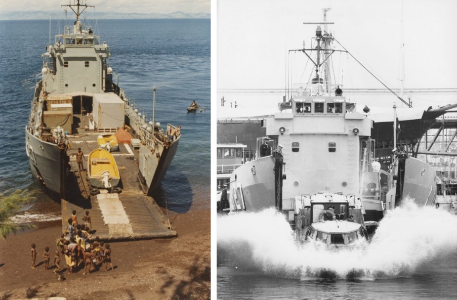 Left: HMAS Brunei providing survey support at Manam Island, PNG, July 1988. Right: HMAS Brunei launching a LARC V (Lighter Amphibious Resupply Cargo) during Navy Week 1989.