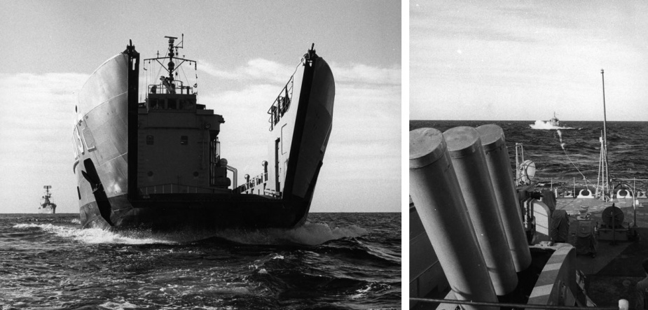 Left: HMAS Buna after losing her bow door between Lord Howe Island and Sydney. HMAS Parramatta is in the background. Right: HMAS Buna after under tow from HMAS Parramatta after losing her bow door.