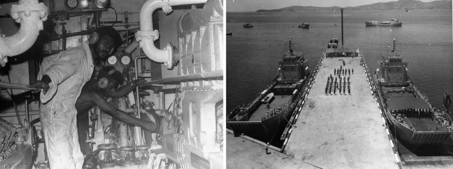 Left: Papuan sailors aboard Buna. Right: HMA Ships Buna and Salamaua commissioning into the Papua New Guinea Defence Force.