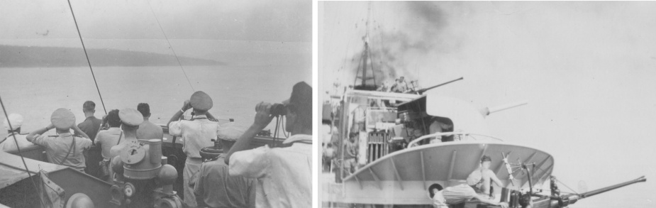 Burdekin conducting naval gunfire support off Halmahera in the Dutch East Indies (R C Higgins collection)