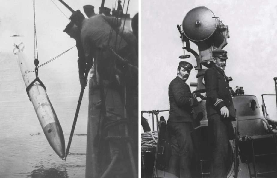 During manoeuvres on Port Phillip bay torpedo attacks were routinely simulated against other vessels of the Victorian navy. On completion of the 'attacks' the torpedoes were recovered to be used again.