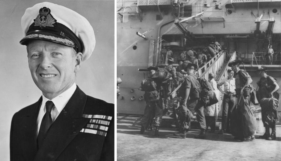 Left: Captain JP Stevenson, RAN. Right: Troops embark in Sydney alongside Garden Island Dockyard.