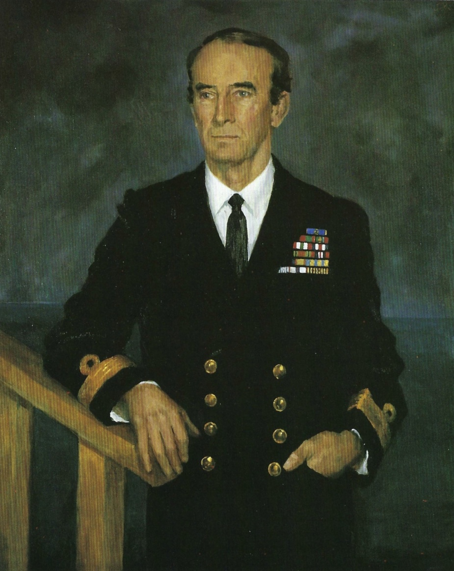 Painting of Commodore Dacre Smyth, AO reproduced with kind permission of the artist Ms Irene Hill