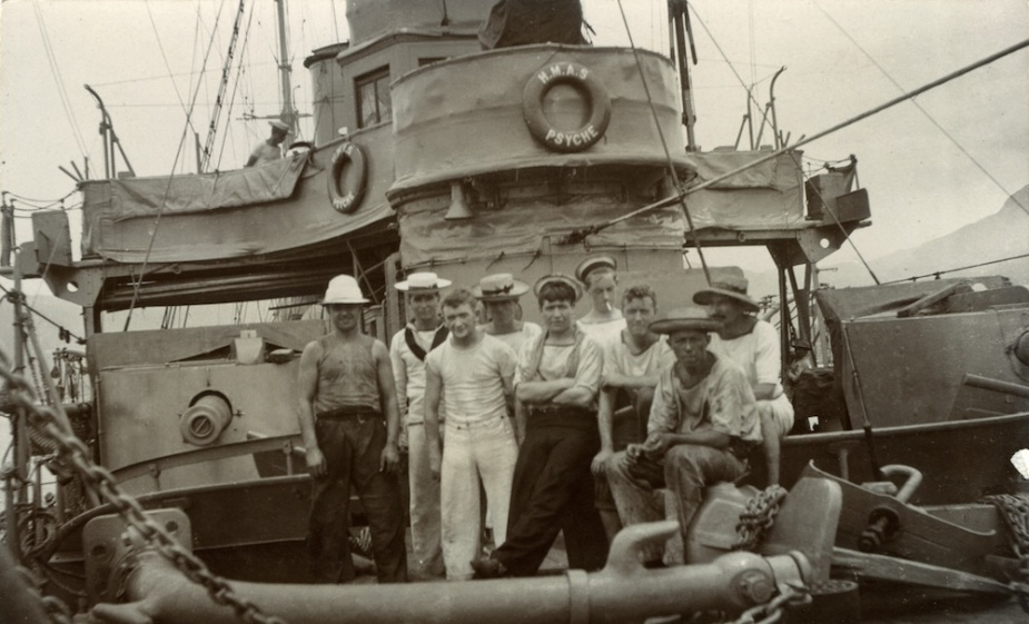 Members of HMAS Psyche's crew mustered on the focsle