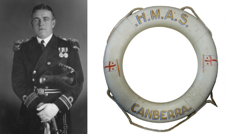 Left: During the Battle of Savo Island, Captain Frank Getting was severely wounded but remained at his post, refusing medical treatment. He was subsequently evacuated to an American Hospital ship but later died of his wounds and was buried at sea. Getting is depicted here in the uniform of a Lieutenant Commander. Right: HMAS Canberra I's ceremonial life ring.