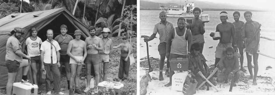 Left: HODSU at Argo site, Kira Kira 1982. (L-R): Cochran, unknown, Varley, Henkle, Heyneman, Quarell, Koenig and Helen. Right: Survey team and 'Wakio' crew, North Island. (L-R): Vitali, John Suga, George Takeli, unknown, Patterson Taupongi, unknown. (Seated): Frank and Petermasa.