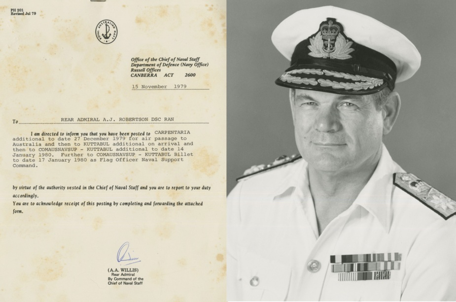 The posting details of RADM Andrew John Robertson, AO, DSC, RAN (pictured right), who served at HMAS Carpentaria.