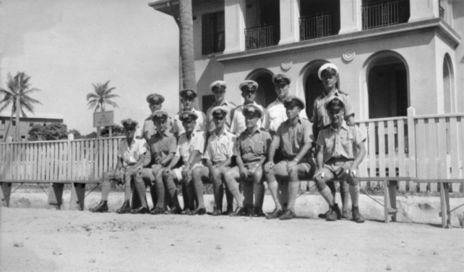 The RAN personnel of HMAS Carpentaria outside the Naval Staff Office.