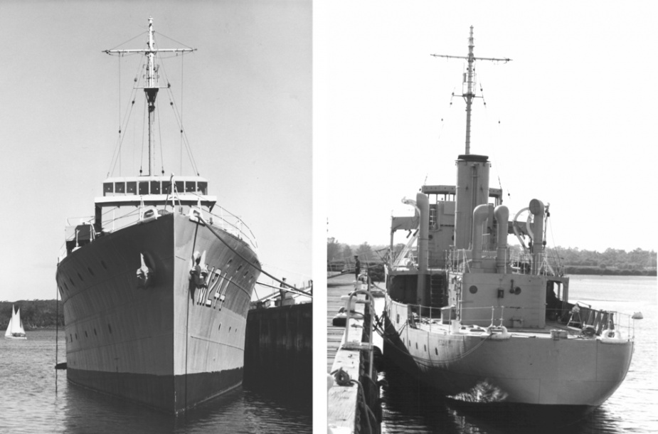 Castlemaine stripped of her wartime fittings in her role as a training ship at HMAS Cerberus, Westernport, Victoria.