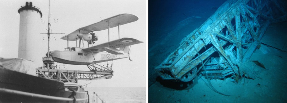 Left: Sydney's Seagull amphibian aircraft secured on its catapault. Right: When Sydney sank the catapault separated from the 'round-house' on which it was mounted coming to rest in the ship's debris field.