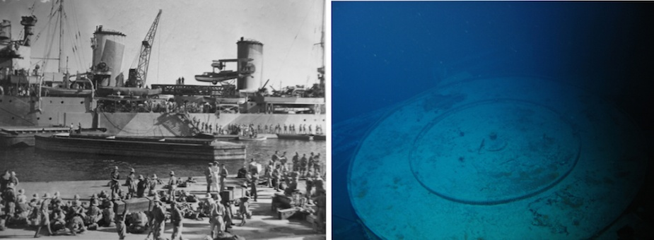 Left: Another view of Sydney's aircraft secured on its catapault amidships. Right: The top of the 'round-house' on which the catapault was normally mounted.