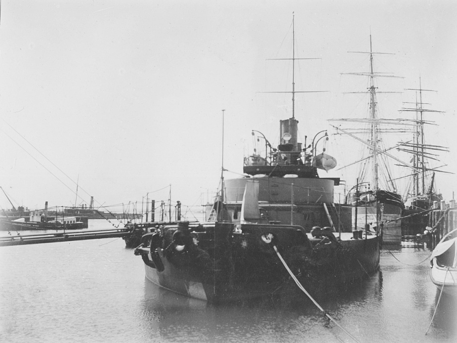 HMVS Cerberus berthed at Williamstown during the late 1800's.