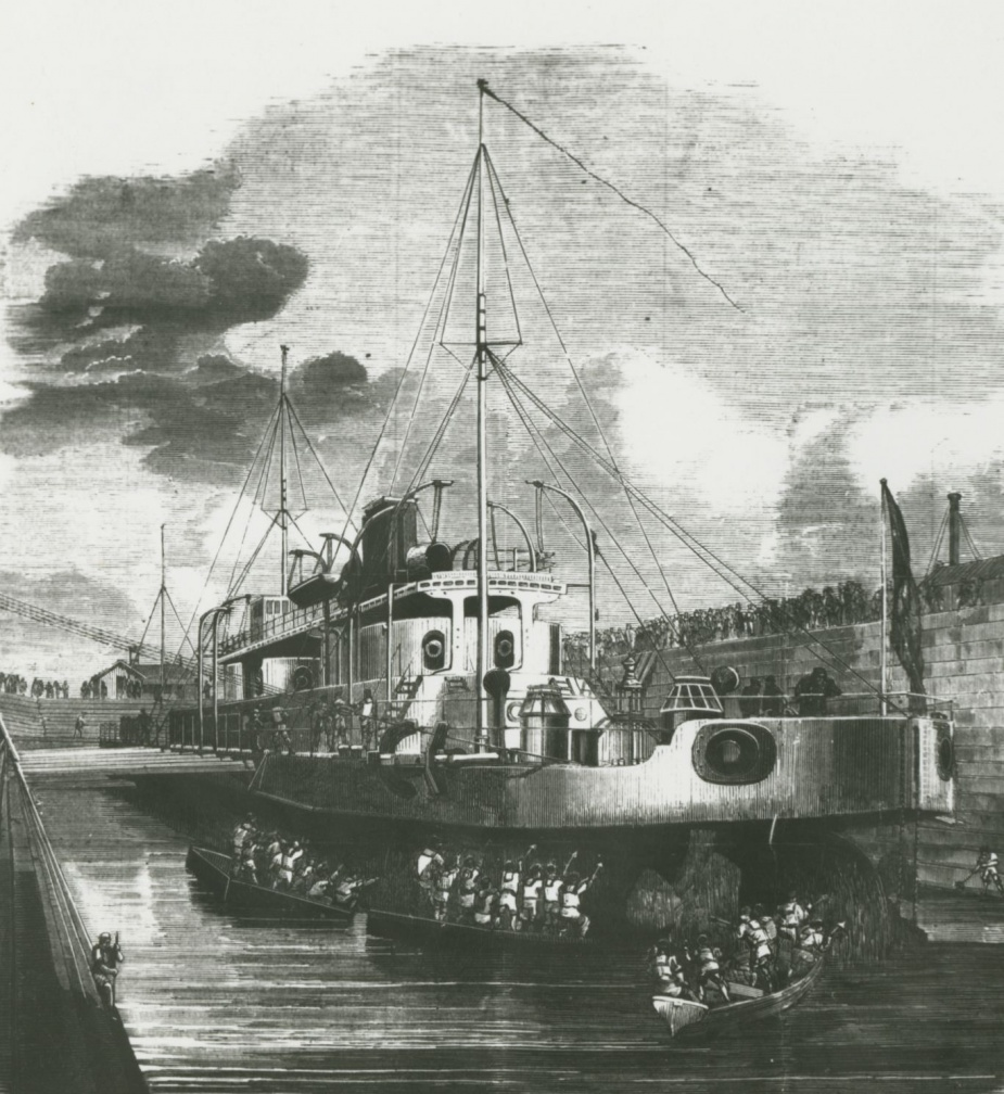 Cerberus in the Alfred Graving Dock. (State Library of Victoria)