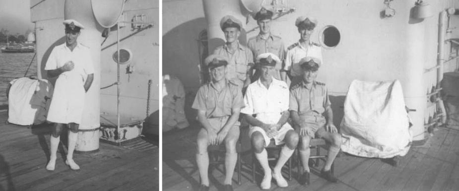 Left: Acting Lieutenant Commander Thomas S Marchington, RNR (Ret'd), Commanding Officer HMAS Cessnock (I). Right: The Commanding Officer with his fellow officers aboard Cessnock (I).
