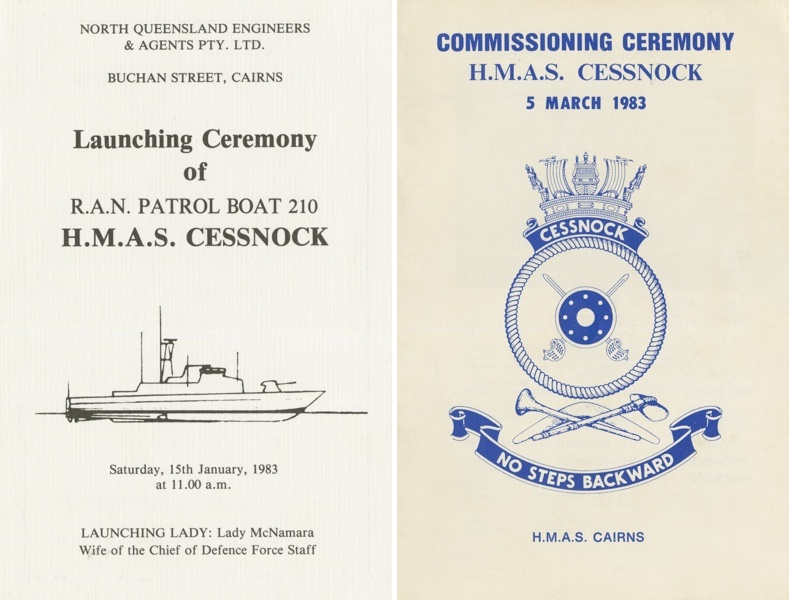 Left: Booklet from the launching ceremony of HMAS Cessnock II on 15 January 1983. Right: Booklet from the commissioning ceremony of HMAS Cessnock II on 5 March 1983.