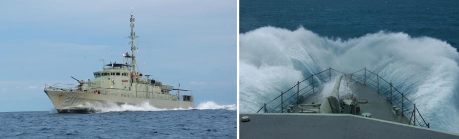 Left: HMAS Cessnock at sea. Right: HMAS Cessnock during rough weather.